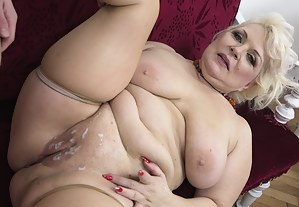 Naughty mature BBW playing with her toyboy