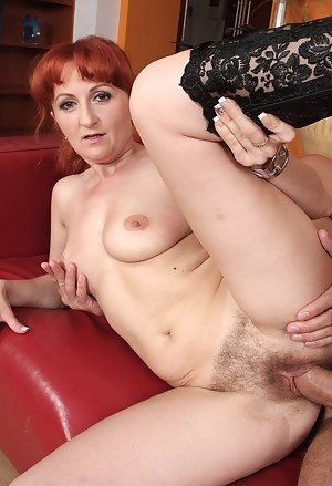 Trixi gets her 30 year old hairy pussy stuffed full of younger cock