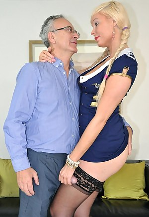 Willing blonde street slut jerking a big british pecker
