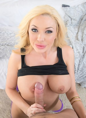 Amazingly sweet woman is riding her lover's cock wearing these sexy purple stockings. She is also demonstrating deepthroat skills with pleasure.