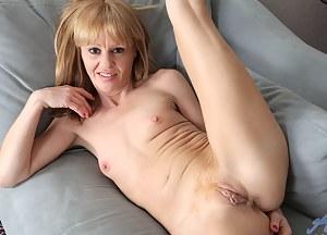 Petite housewife slips off her dancing dress exposing her nude flesh