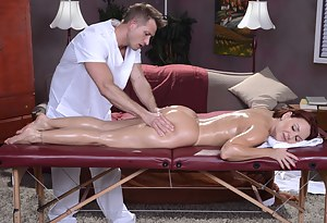 Redhead signs up for a quick rubdown, but turns her masseur is big into feet. She gets aroused and lets him drill that MILF pussy.