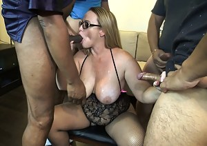 Asked hubby to invited a few guys over for a blow bang. This time instead of them cumming all over my face or big tits, I wanted to feel their warm cum all over my PHAT ASS!I blow four of my Siren Strokers before bending my PHAT ASS over. That's when Mr.