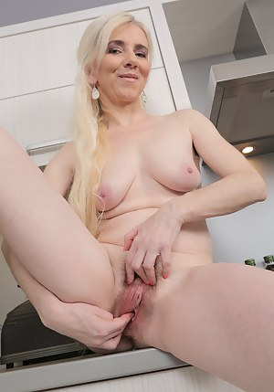 48 year old blonde housewife Dorena spreads on the kitchen counter