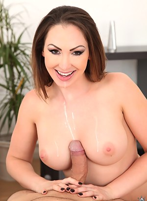 Lovely woman is ready for sensational sex experiments. She is giving her partner awesome blowjob and riding his strong penis.