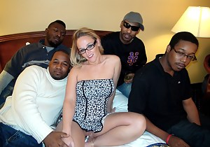 The title should say it all!  This is my second all BBC gangbang and I fucking LOVED it!  These big boys fucked all my marries holes for an hour while hubby watched and jerked his dick. They double penetrate my pussy and asshole at the same time while oth
