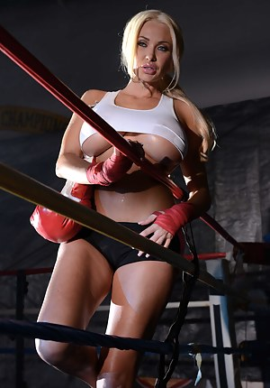 Let this busty blonde show her fantastic boxing and masturbation skills. She is also practicing unforgettable fuck session with her partner.