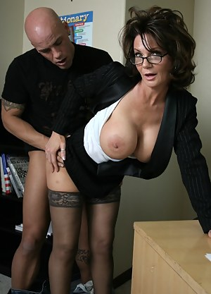 Maybe he's her coworker, maybe he's her student. Kids do go bald really early these days. Watch him fuck this stockings-wearing minx.