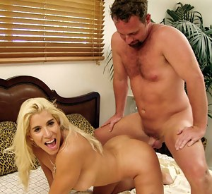 Lovely blonde is getting penetrated by the strong man with all the passion he's got. Though it is not enough for her and she is masturbating outdoor.