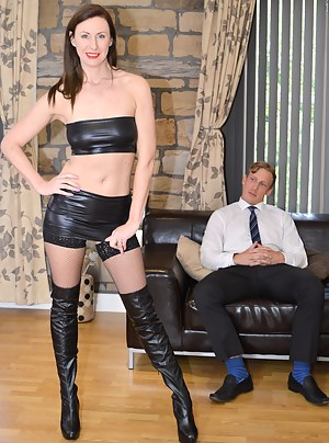 Brunette milf in boots suck and ride a big schlong hard
