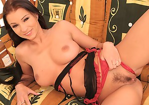 Sexy princess wearing black and red lingerie is practicing awesome solo. She is torturing her pussy with long stick and feeling great.