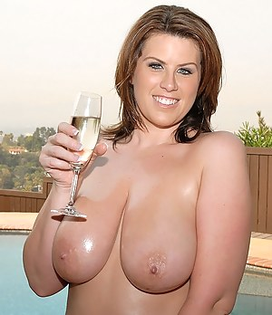 Fat babe having big tits is demonstrating sensational fuck skills making her lover happy. She is drinking champagne and getting penetrated.