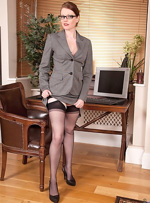 Gorgeous Anilos office temp strips down to her naughty lingerie on lunch break