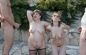 Two mature sluts get creampie