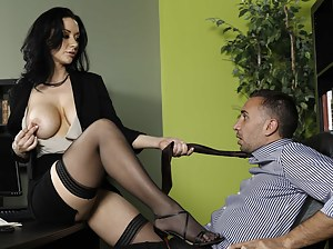 Stockings-clad office worker decides to seduce her boss since he seemingly works way too hard - watch her get licked and dicked.