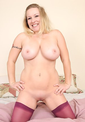 Busty blonde Allyza Blue from AllOver30 strips off her great lingerie
