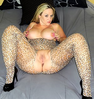 This is the perfect leopard print lingerie for a slutwife like me. It fits my curvy body perfectly and has a big hole in the crotch for the two big cocks I'm about to fuck. One of my Siren Strokers blew his load after me sucking him for a only a min, but