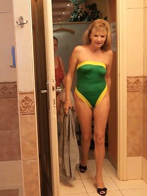 Take a look at an all mature female sauna