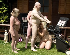 After Stripping off in the Summerhouse we were naked and teasing the Gardeners, well they soon rose to the occasion and