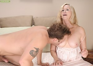 Horny granny Annabelle Brady gets her pussy thrashed.
