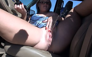 We were out driving around and I was feeling extra fucking horny. So I had my husband Mr. Siren pull over so I could rub my pussy. Being an exhibitionist makes me so wet it doesn't take long before my panties and the seat of my truck are soaked. I shove m