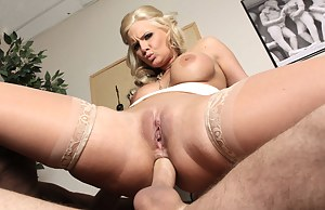 It's a dildo at first. Next thing you know -- this big-dicked stud shoves his massive cock deep down this slut's already-loose anal hole.