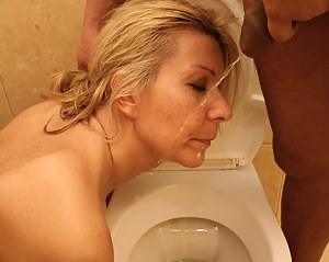 She swallows and fucks on a crapper