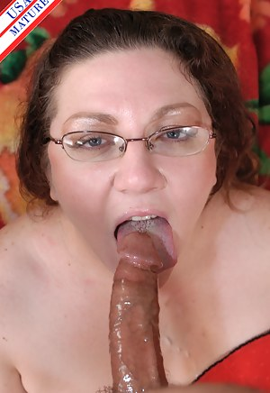 Chubby mature sucking a hard cock