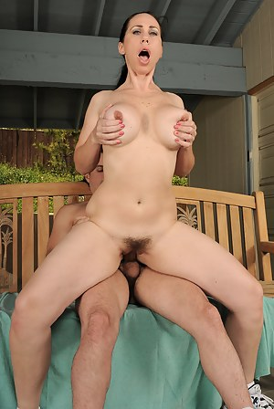 Horny MILF Kira gets her pussy filled with cock outside on the deck