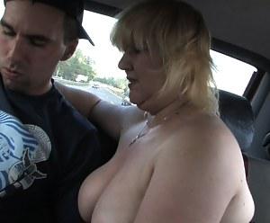 Blonde chubby mature slut having sex in the woods