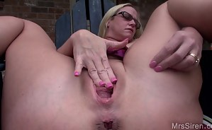 It's a nice warm day at the house and my pussy has the feeling of needing to be stretched. I start fisting my pussy, which makes my asshole prolapse. Then I grab my monster dildo to satisfy my pussy with. Stretching my pussy makes me squirt so fucking har