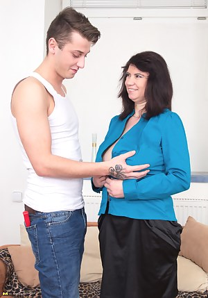 Chubby housewife playing with her toyboy