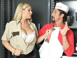Cock-hungry police officer is enjoying wild closeness with the muscular cooker. She is playing dirty games with his aggregate in his cafe.