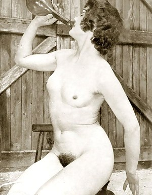 Vintage chicks showing their hairy pussy in the fifties