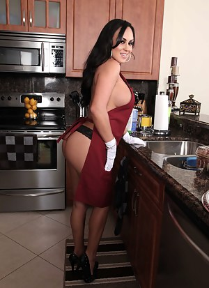 Busty brunette is cooking for the handsome man and his wife. She is also presenting this lucky guy with wild fuck session in the kitchen.