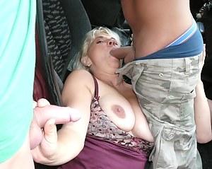 This mature slut sucks cocks alongside a highway