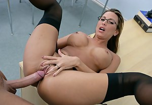 He gets way too touchy-feely with her but you can tell she loves it. Watch this lusty brunette in stockings take his cock deep.