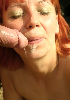 mature redhead gets fucked outside